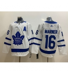 Men Toronto Maple Leafs 16 Mitchell Marner White With A Patch Adidas Stitched NHL Jersey