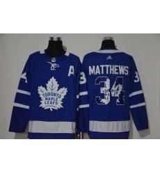Men Toronto Maple Leafs 34 Auston Matthews Blue Adidas Fashion Jersey