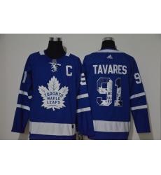 Men Toronto Maple Leafs 91 John Tavares Blue Adidas Fashion Jersey