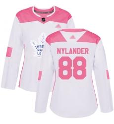 Women Maple Leafs 88 William Nylander White Pink Authentic Fashion Stitched Hockey Jersey