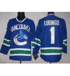 Hockey Jerseys Vancouver Canucks 1 Roberto Luongo BLUE