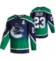 Men Vancouver Canucks 23 Alexander Edler Green Adidas 2020 21 Reverse Retro Alternate NHL Jersey