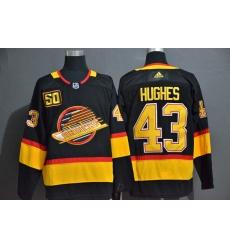 Men Vancouver Canucks 43 Quinn Hughes Black 50th Season Adidas Jersey