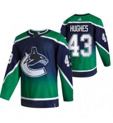 Men Vancouver Canucks 43 Quinn Hughes Green Adidas 2020 21 Reverse Retro Alternate NHL Jersey