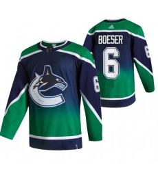 Men Vancouver Canucks 6 Brock Boeser Green Adidas 2020 21 Reverse Retro Alternate NHL Jersey