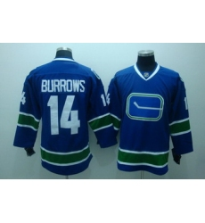 Vancouver Canucks 14 BURROWS blue Hockey jersey