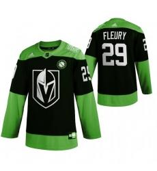 Men Vegas Golden Knights 29 Marc Andre Fleury Green 2020 Adidas Jersey