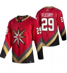 Men Vegas Golden Knights 29 Marc Andre Fleury Red Adidas 2020 21 Reverse Retro Alternate NHL Jersey