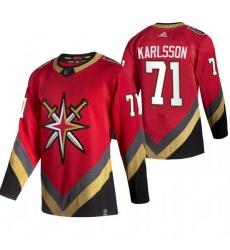 Men Vegas Golden Knights 71 William Karlsson Red Adidas 2020 21 Reverse Retro Alternate NHL Jersey