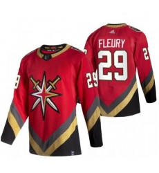 Youth Vegas Golden Knights 29 Marc Andre Fleury Red Adidas 2020 21 Reverse Retro Alternate NHL Jersey