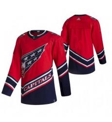 Men Custom Washington Capitals Team 2021 Reverse Retro Red Jersey
