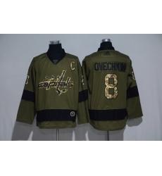 Men Washington Capitals 8 Alexander Ovechkin Olive Adidas Jersey