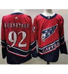 Men Washington Capitals 92 Evgeny Kuznetsov Red 2020 21 Reverse Retro Adidas Jersey
