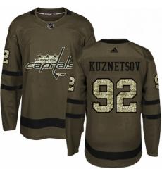 Mens Adidas Washington Capitals 92 Evgeny Kuznetsov Premier Green Salute to Service NHL Jersey