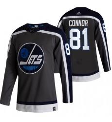 Men Winnipeg Jets 81 Kyle Connor Black Adidas 2020 21 Reverse Retro Alternate NHL Jersey