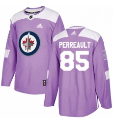 Mens Adidas Winnipeg Jets 85 Mathieu Perreault Authentic Purple Fights Cancer Practice NHL Jersey