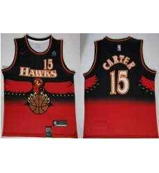 Men Atlanta Hawks Hawks 15 Vince Carter Red Nike Throwback S