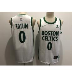 Men Boston Celtics 0 Jayson Tatum White 2021 Nike City Edition Swingman Stitched NBA Jersey With The Sponsor Logo