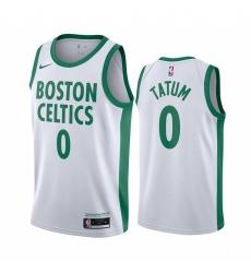 Men Nike Boston Celtics 0 Jayson Tatum White NBA Swingman 2020 21 City Edition Jersey