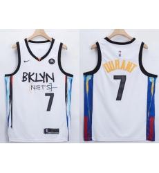 Men Brooklyn Nets Kevin Durant 7 White 2021 Nike NBA Swingman Jersey