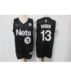 Men Nike Brooklyn Nets James Harden 13 Black NBA New grey playoff bonus jersey