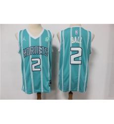 Men Nike Charlotte Hornets 2 LaMelo Ball Aqua NBA Jordan Swingman 2021 Jordan Brand Jersey