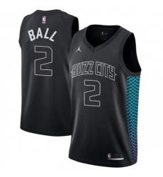 Men Nike Charlotte Hornets 2 LaMelo Ball Black NBA Jordan Swingman City Edition Jersey