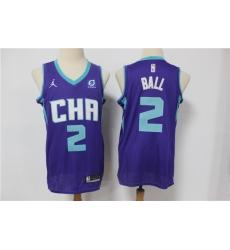 Men Nike Charlotte Hornets 2 LaMelo Ball Purple NBA Jordan Swingman 2021 Jordan Brand Jersey