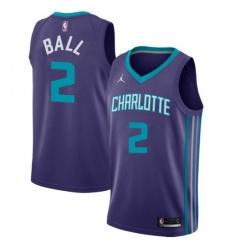Men Nike Charlotte Hornets 2 LaMelo Ball Purple NBA Jordan Swingman Statement Edition Jersey