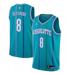 Men Nike Charlotte Hornets 8 Bismack Biyombo Aqua NBA Jordan Swingman Hardwood Classics Jersey