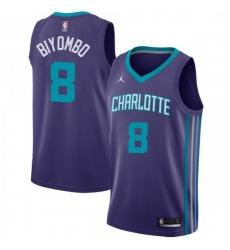 Men Nike Charlotte Hornets 8 Bismack Biyombo Purple NBA Jordan Swingman Statement Edition Jersey