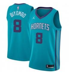 Men Nike Charlotte Hornets 8 Bismack Biyombo Teal NBA Jordan Swingman Icon Edition Jersey