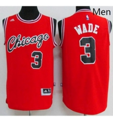 Chicago Bulls 3 Dwyane Wade Red Crabbed Typeface Throwback Stitched NBA Jersey