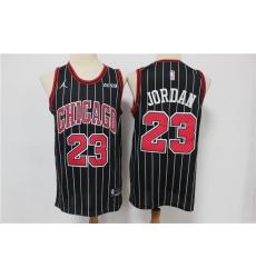 Men Jordan Brand Chicago Bulls Michael Jordan 23 Black Strips Swingman Jersey