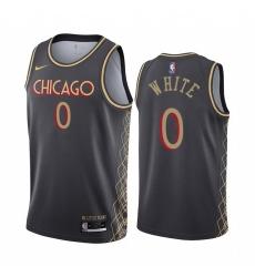 Men Nike Chicago Bulls 0 Coby White Black NBA Swingman 2020 21 City Edition Jersey