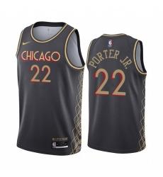 Men Nike Chicago Bulls 22 Otto Porter Jr Black NBA Swingman 2020 21 City Edition Jersey
