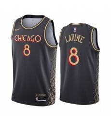 Men Nike Chicago Bulls 8 Zach Lavine Black NBA Swingman 2020 21 City Edition Jersey
