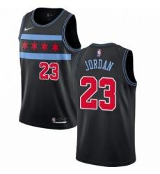 Mens Nike Chicago Bulls 23 Michael Jordan Swingman Black NBA Jersey City Edition