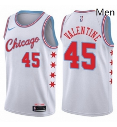 Mens Nike Chicago Bulls 45 Denzel Valentine Swingman White NBA Jersey City Edition