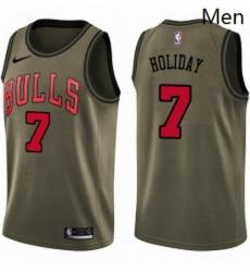 Mens Nike Chicago Bulls 7 Justin Holiday Swingman Green Salute to Service NBA Jersey