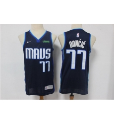 Men Dallas Mavericks Luka Doncic 77 Navy Blue 2021 City Edition Nike Swingman Jersey