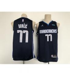 Men's Dallas Mavericks #77 Luka Doncic Authentic Navy Finished Basketball Jersey
