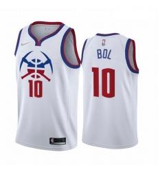 Men Denver Nuggets 10 Bol Bol White NBA Swingman 2020 21 Earned Edition Jersey