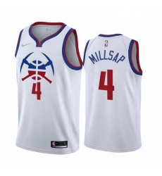 Men Denver Nuggets 4 Paul Millsap White NBA Swingman 2020 21 Earned Edition Jersey