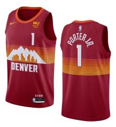 Men Denver Nuggets Michael Porter Jr. #1 Red City Edition Swingman Jerseys