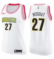Men Nike Denver Nuggets #27 Jamal Murray Swingman White Pink Fashion NBA Jersey
