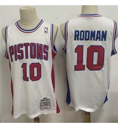 Men Detroit Pistons 10 Dennis Rodman White 1988 89 Hardwood Classics Jersey