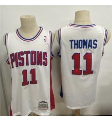 Men Detroit Pistons 11 Isiah Thomas White 1988 89 Hardwood Classics Jersey