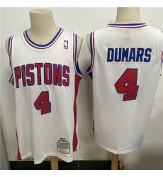 Men Detroit Pistons 4 Joe Dumars White 1988 89 Hardwood Classics Mesh Jersey