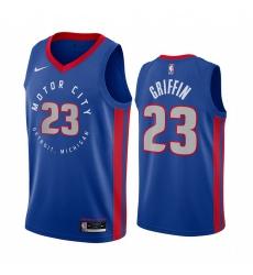 Men Nike Detroit Pistons 23 Blake Griffin Blue NBA Swingman 2020 21 City Edition Jersey
